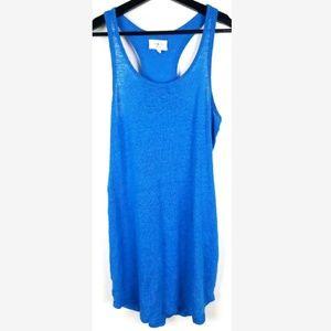 Lou & Grey Racerback Dress 100% Linen Blue